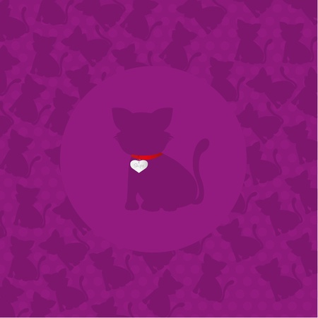 cat silhouette over purple background, vector illustration Vector