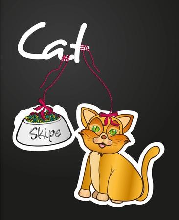 whisker characters: etiqueta de mascotas containe: un gato de alimentos, illustraion vector Vectores