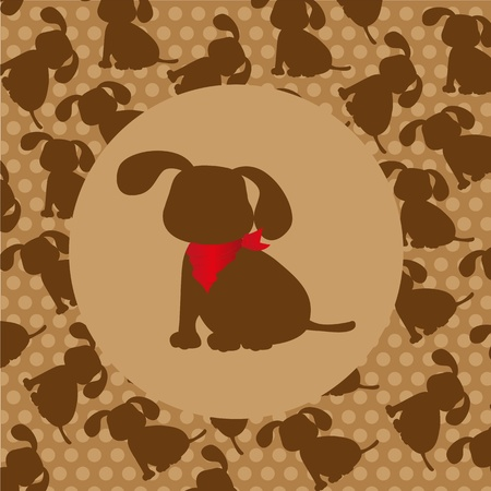 dog silhouette over pattern of dog silhouette Vector