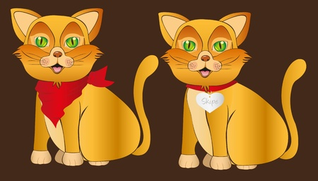 cat with accesories over brown background, vector illustration Stock Vector - 13035093