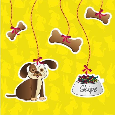 etiqueta de perro containes accesorios: los huesos, la comida y el perro