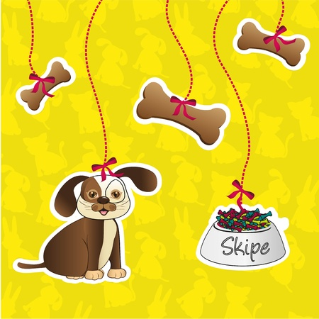 label of dog accesories containes: bones, food and dog Vector