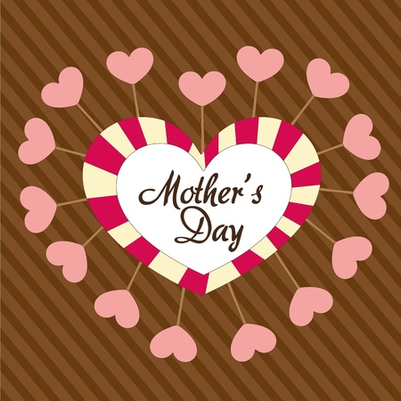 Mothers day heart, over background of brown lines Vector