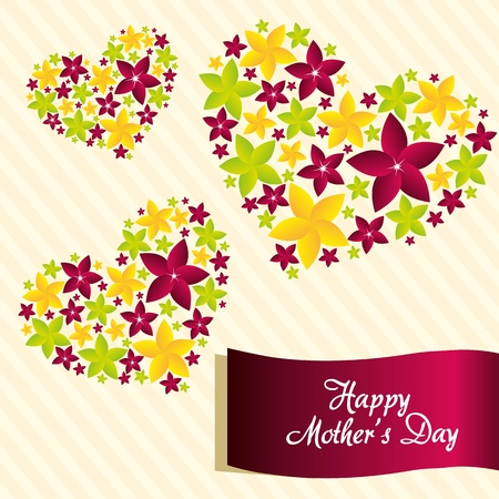 love mom: Flowers with heart shape, issolated over white background