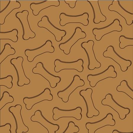 patrón de siluetas croquetas de perro, aisladas sobre fondo marrón