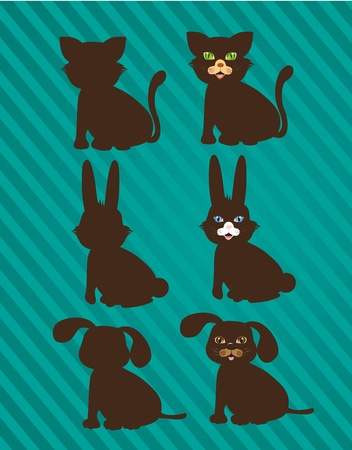 set of silhouettes of domestic animals in two styles Vector