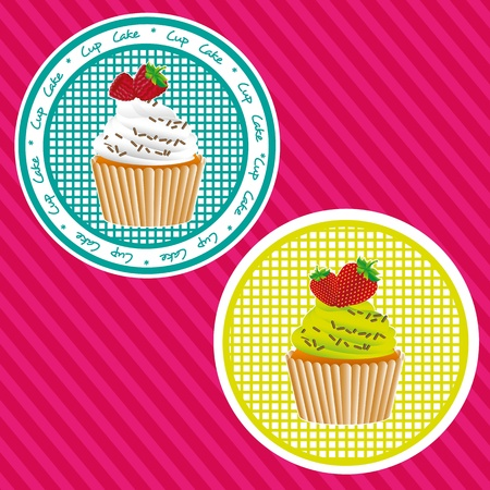 two labels cupcakes, background lines, vector illustration Stock Vector - 13035376