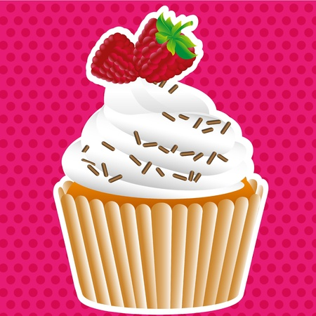 cupcake labels on dotted background, vector illustration Vector