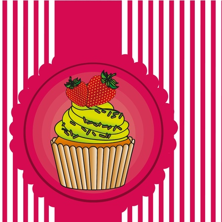 cupcake label on bottom lines, vector illustration Vector