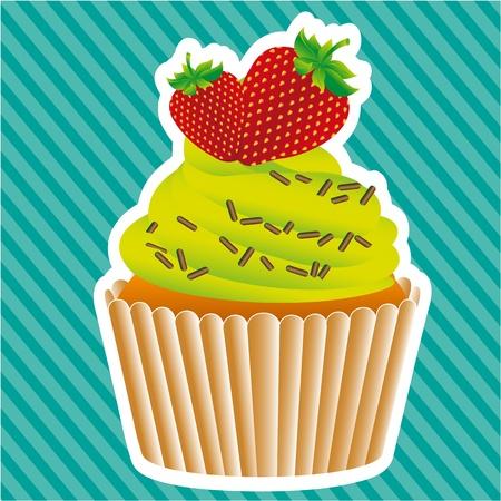 cupcake sticker on bottom lines, vector illustratition Stock Vector - 13035113
