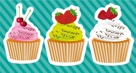 cupcakes stickers on background lines with strawberries, blackberries and cherries Vector