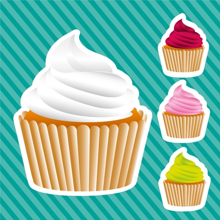 Basic cupcakes stickers on bottom lines, vector illustration Vector
