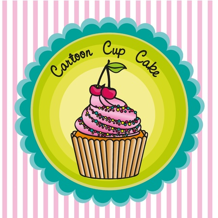 cartoon cupcakes label over background lines, vector illustration Vector