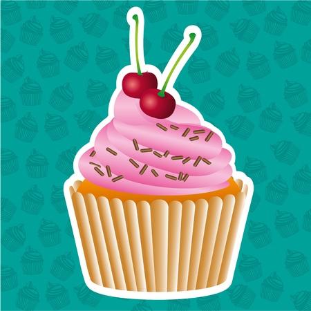buttercream: Cupcake adesivo sul motivo di sfondo cupcakes, illustrazione vettoriale