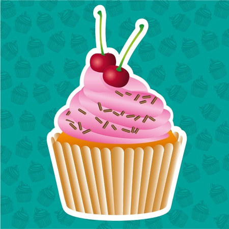 sticker cupcake on cupcakes pattern background, vector illustration Vector