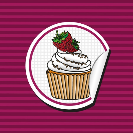 blackberry cupcake cartoon sticker over background of lines, vector illustration Vector