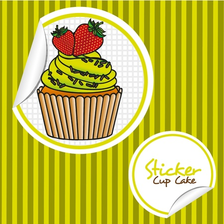strawberry cupcake cartoon sticker over background of lines, vector illustration Vector