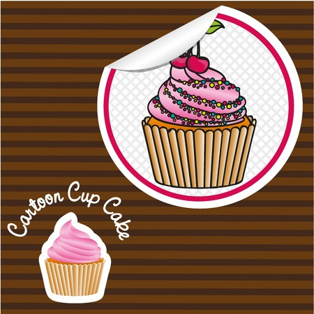 cherry cupcake cartoon sticker, lines background, vector illustration Stock Vector - 13035163