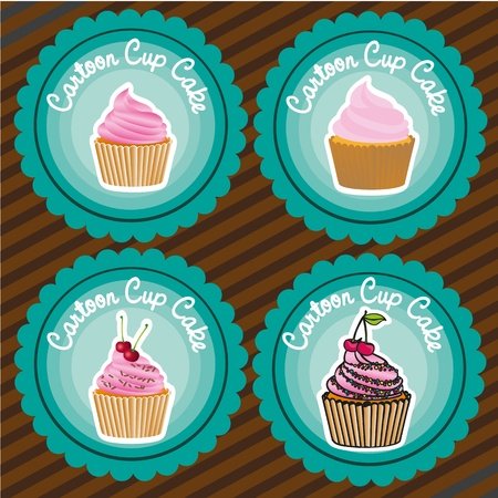 set of labels of cupcakes, lines background, vector illustration Vector