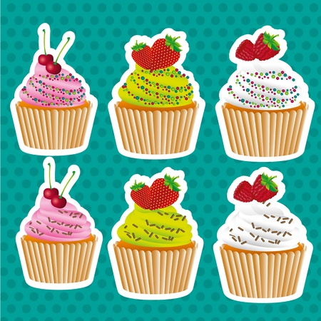 set of stickers cupcakes, seed color and chocolate chips Vector