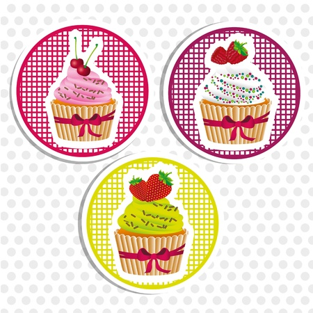 stickers cupcakes with bows, dotted background Vector