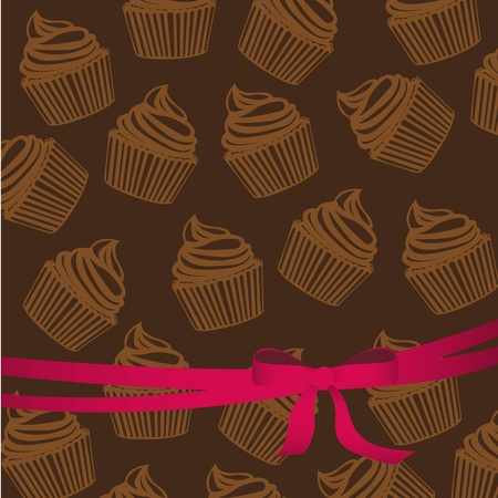 background pattern of silhouettes of cupcakes with ribbon, vector illustration Vector