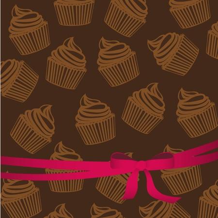 buttercream: motivo di sfondo di sagome di cupcakes con nastro, illustrazione vettoriale Vettoriali