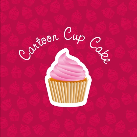 basic cupcake sticker on back of pattern shapes of cupcakes Vector