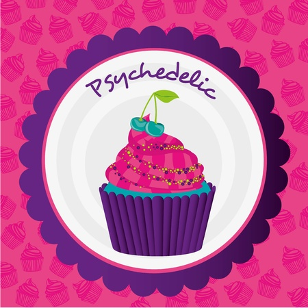psychedelic cupcake label on bottom of cupcakes pattern Vector