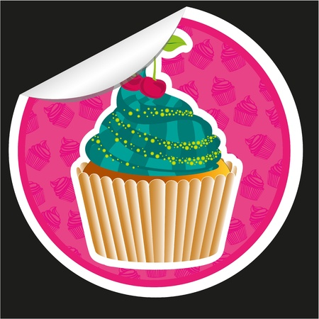 sticker cupcake with pattern silhouettes background  isolated on black Vector