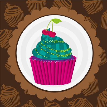 cupcake sticker on back of pattern shapes of cupcakes Vector