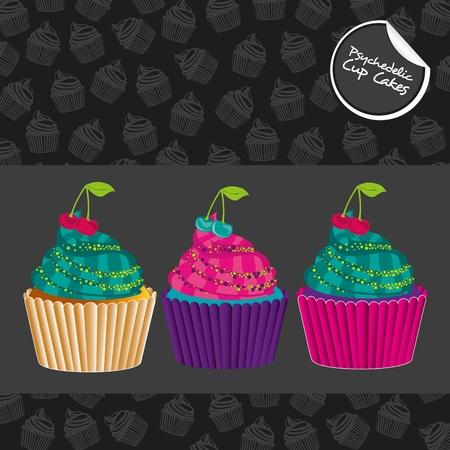 buttercream: Cupcakes psichedelico impostato, isolato su fondo nero con motivo di cupcakes Vettoriali