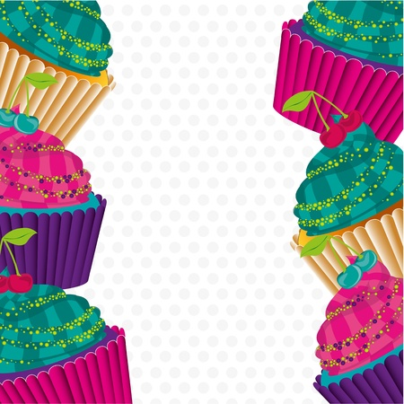 background of psychedelic cupcakes on white background Stock Vector - 13035444