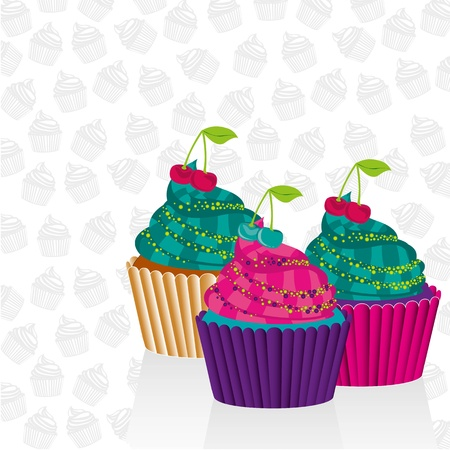 buttercream: Cupcakes psychedelic over pattern silhouettes of cupcakes Illustration