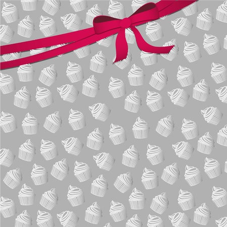 background pattern of small silhouettes of cupcakes Vector