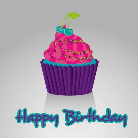 buttercream: Cupcake Happy Birthday, colori vivaci, su sfondo bianco con le ombre Vettoriali