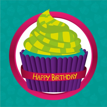 Cupcake psychedelic label, background of turquoise cupcakes pattern Vector
