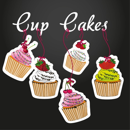 cupcakes pendant on black background, with five styles of cupcakes Stock Vector - 13035501
