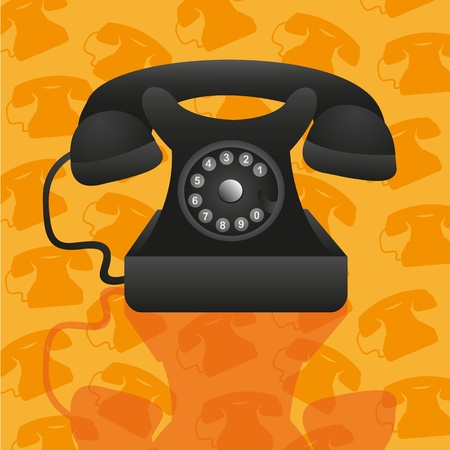 old telephone on background pattern of silhouettes of telephone Stock Vector - 13035010