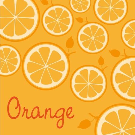 pattern of silhouettes of oranges isolated on orange background Illustration