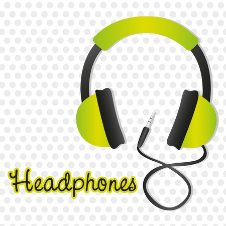 ear phones: green headphones with connector over background of gray dots