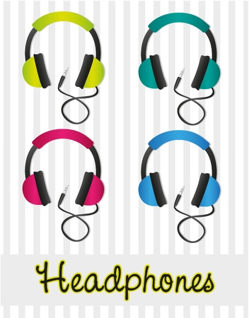 head phones: color set of headphones on gray background lines Illustration