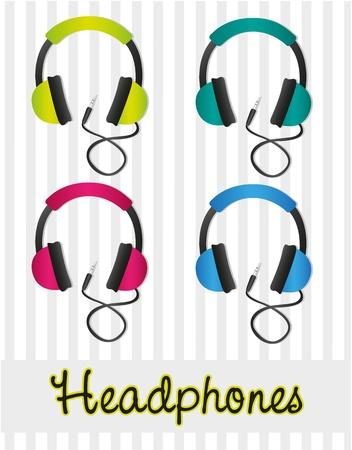 audifonos: juego de auriculares de color en las l�neas de fondo gris
