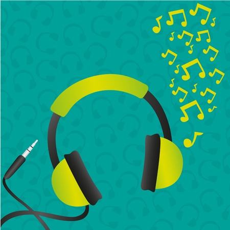 headphones green background pattern of headphones turquose and music notes Vector