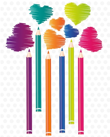 brightly colored pencils background with heart shaped scratches Stock Vector - 13035091