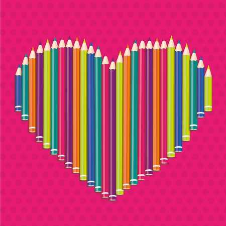 colored pencils forming a heart on pink dots Stock Vector - 13035358