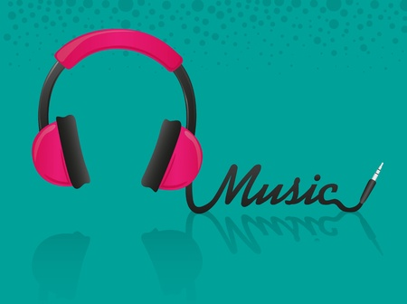 headphones forming the word music, turquoise background Vector