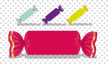 sweetmeats: set of rectangular colored candies, vector illustration Illustration