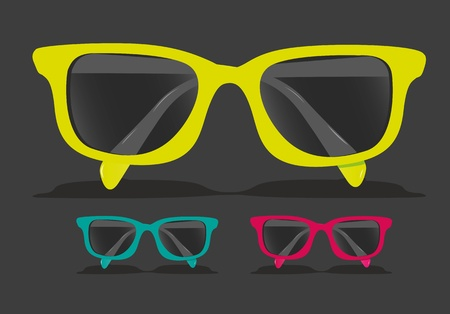 optometry: set of colored glasses, Vector Illustration Illustration