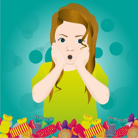 surprised girl by candy of many colors, vector illustration Vector